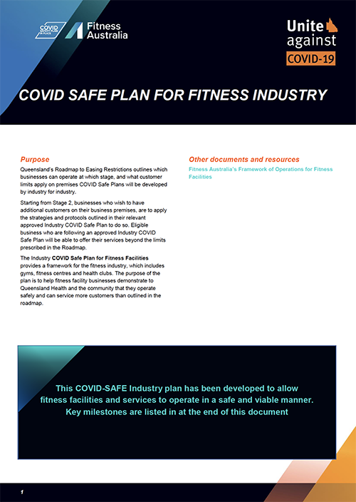 COVID-19 Safe Plan for the Fitness Industry