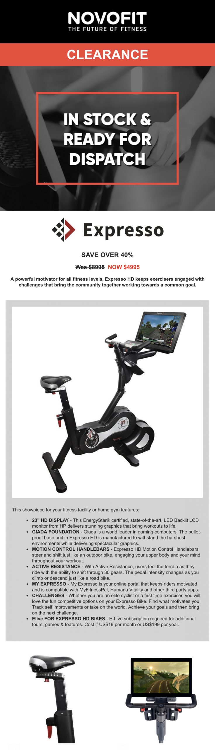 Expresso HD Upright Bike from Novofit - Clearance Sale