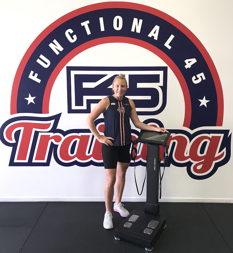 F45 TRAINING JIMBOOMBA - Owner Krystal Manley with New Evolt Body Composition Scanner