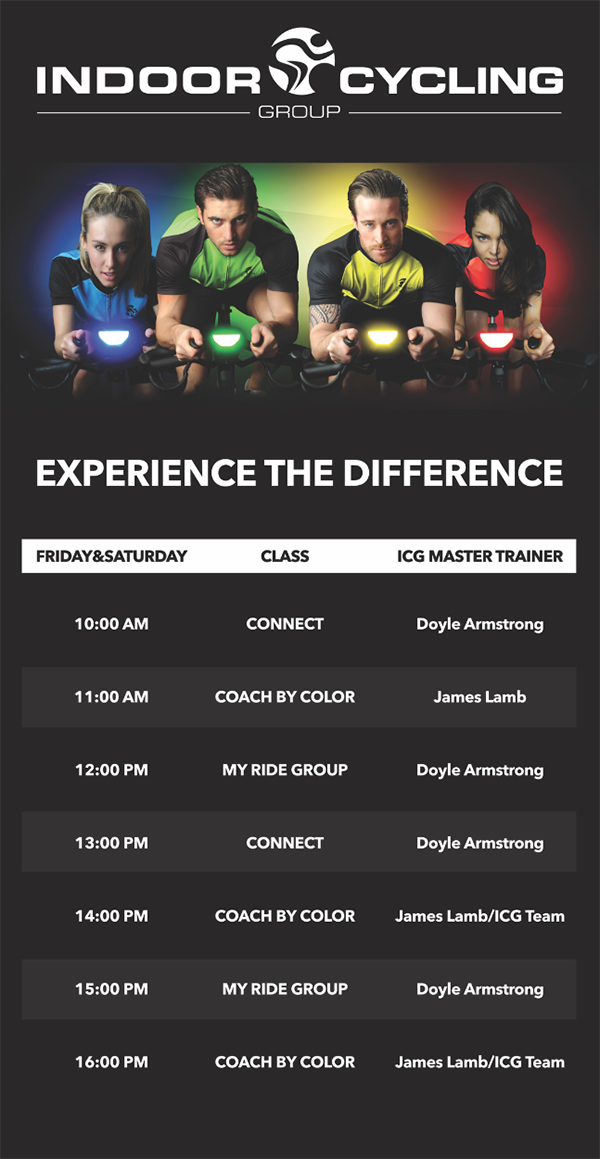 ICG - The Indoor Cycling Experience - Timetable