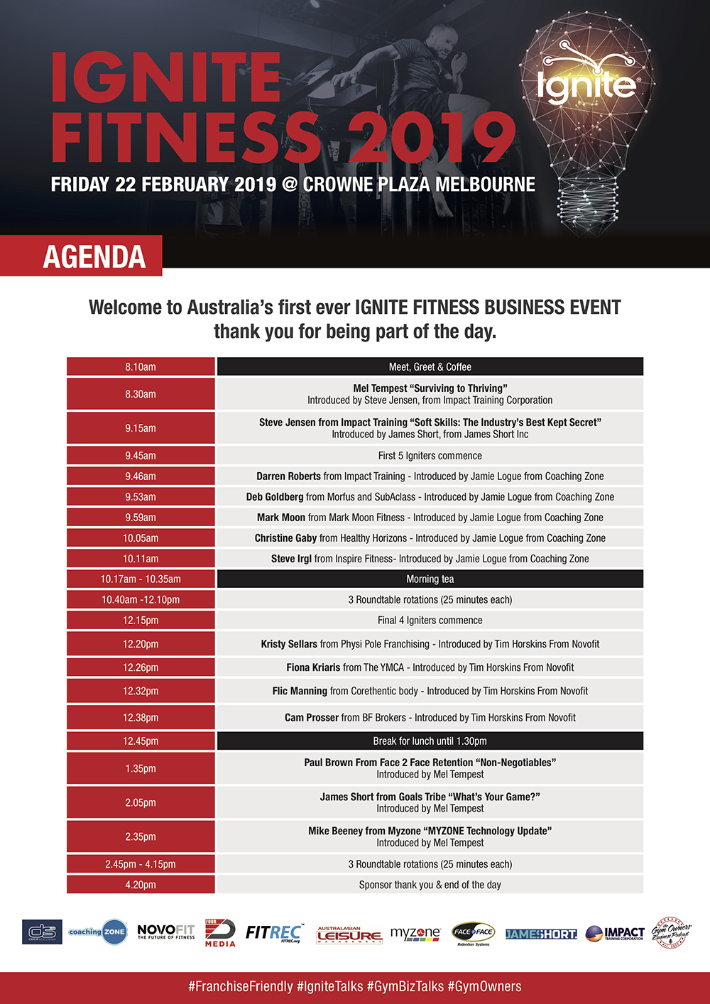 Ignite Fitness 2019 - Agenda