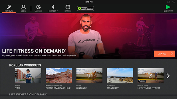 Life Fitness On Demand - SE3HD - Choose Your Workout Screen - CardioOnDemand