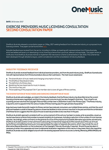 OneMusic - Exercise Providers Music Licensing Consultation - Second Paper