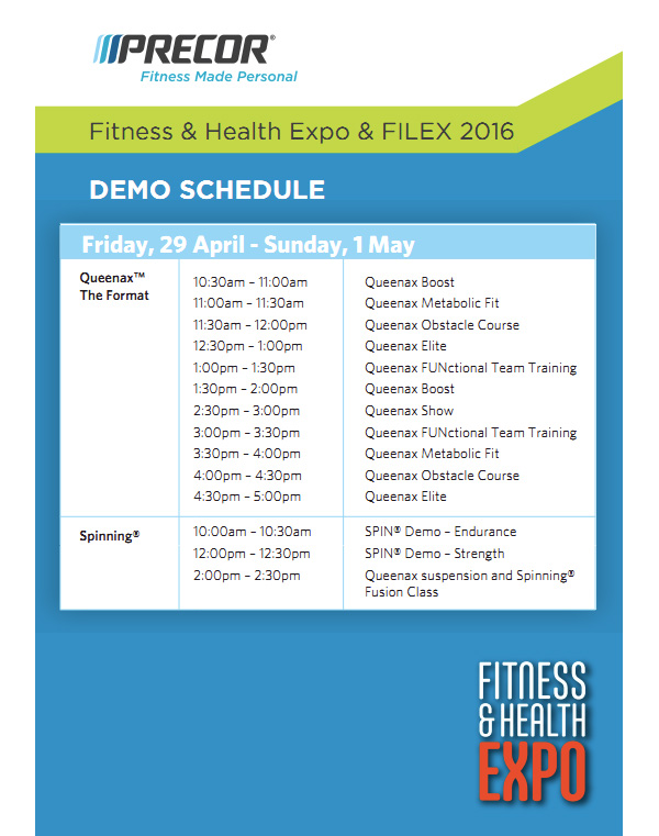 Precor Demo Schedule - Fitness Expo 2016